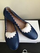 NIB $475 Chloe scalloped flats Royal Navy - size 7