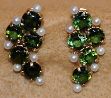 Antique 14K gold clip-on earrings with Tourmalines and Pearls