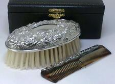 Cased Vintage hallmarked Sterling Silver-backed Grooming Brush & Comb  – 1976