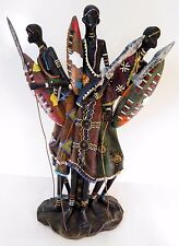 African Warriors Hunters Resin Statue 3 Figures Colorful
