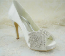 Fatto a mano cristallo champagne PIZZO NUZIALE TG TACCO ALTO RASO wedding shoes uk3-8