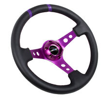 "NRG Limited Steering Wheel 350mm Purple Center & Black Leather 3"" Deep Dish"