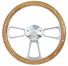 "14"" Chrome Aluminum & Wood Steering Wheel for Chevy Impala, Camaro, Chevelle etc"