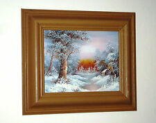 I CAFIERI Original Oil Painting Chalet in a Snow Covered Winter River Landscape
