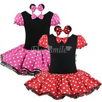 Girls Minnie Mouse Red Polka Dot Fancy Dress Costume Outfit Hen Party+Headband