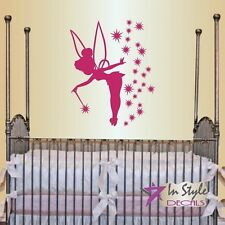 Vinyl Decal Fairy with Wand and Stars Baby Girl Kids Nursery Room Sticker 169