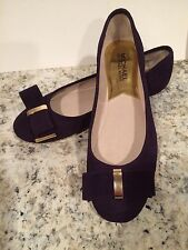 Michael Kors Delphine Ballet Flats Shoes Round Toe Suede Iris Dark Purple 6.5 M