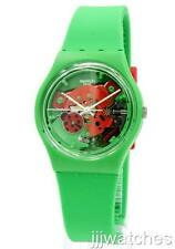 New Swatch Choupette Green Silicone See-Thru Dial Watch 34mm GG220