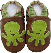 carozoo new soft sole leather baby shoes octopus brown C2 3-4t