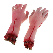1 Pair Life Size Dead Body Part-SEVERED BLOODY ARM HAND-Chop Shop Halloween Prop