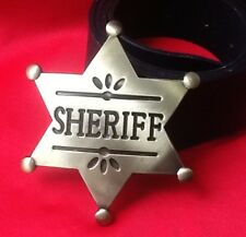 DEPUTY GOLD SHERIFF STAR WILDWEST WESTERN COWBOY FANCY DRESS BUCKLE LEATHER BELT