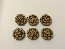 100 OHM Acrylic Beads 15mm Round Coin Brown for Yoga Meditation Jewelry Buddha
