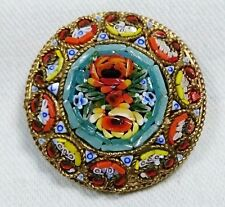 Round Flower Micro Mosaic Brooch Pin, Grand Tour Souvenir Jewelry