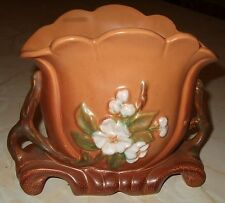 "Vintage Weller Pottery Handled Vase, G-14 Gloria Floral 6 1/2"" Dogwood Apple"