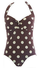 BODEN Women's Brown/Natural Spots Halter Padded One-Piece Swimsuit US Size 2 NEW