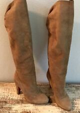 VERO CUOIO Brown Suede Tall High-Heel Pull-On Boots - Women's US 6 / Italy 36