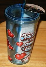 NURSING IS A WORK OF HEART  DOUBLE INSULATED CUP WITH STRAW