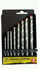 8PC DRILL BIT SET SUITABLE FOR PLASTIC & WOOD QUALITY DRILLS 3MM to 10MM + CASE