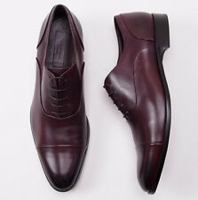 NIB $895 ERMENEGILDO ZEGNA Burgundy Calf Captoe Balmoral US 14 D Dress Shoes