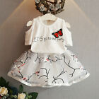 2PCS Toddler Kids Baby Girls T-shirt Tops+Floral Skirt Dress Outfits Clothes Set