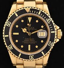 Vintage 18K Gold Rolex Submariner with Nipple Dial Wrist Watch Ref: 16808