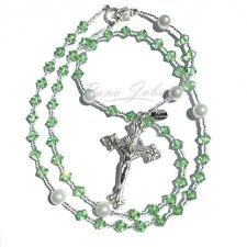 Peridot AUGUST Birthstone Swarovski Crystal and Pearl Catholic Prayer Rosary