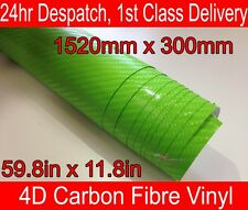 4D Carbon Fibre Vinyl Wrap Film Sheet LIME GREEN 300mm(11.8in) x 1520mm(59.8in)