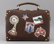 Yoshi HAPPY TRAVELS Applique LEATHER Suitcase style CROSSBODY BAG vintage badges