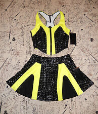 LIP SERVICE SYNAPSE BLACK YELLOW MINI SKIRT BUSTIER TOP SET M NWT
