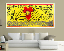 QUADRI MODERNI TELA 100X50 KEITH HARING ARTE ARREDO LIVING LOVE HEART RED