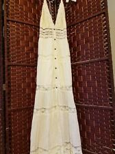 Free People Lace Tiered Boho Gypsy Wedding Maxi Dress Button Front S $280 Ivory