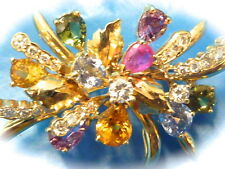 Stunning all natural multi color sapphires diamond 18k yellow gold pin brooch