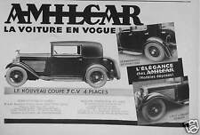 PUBLICITÉ 1932 AMILCAR LA VOITURE EN VOGUE - ADVERTISING