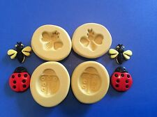 Bees and lady bugs Silicone Mold set of 4  Gumpaste Fondant polymer clay  #293