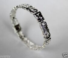 925 Sterling Silver Hawaiian Hibiscus Plumeria Scroll Bracelet Engraved Solid 7""