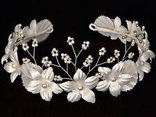 Starflower Sagrada Comunión Tiara Corona Diadema de flores niña Floral Blanco Plata