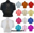 New Womens Crochet Knitted Short Sleeve Shrug Ladies Cardigan Bolero Top Plus