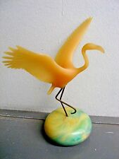 VINTAGE PINK FLAMINGO ART SCULPTURE by JOHN PERRY on MOON STONE BALL BASE 8""