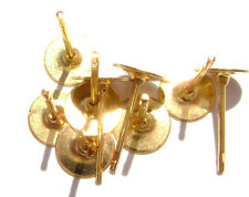 1611FN  Earstud Stud Post Earpost Gold Goldtone Brass 6mm Flat Pad, 100 Qty