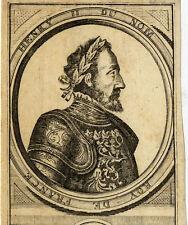 Portrait de Henry Henri 2 II Roi de France Gravure originale 18e siècle