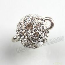 20sets 160540 New Silvery Rhinestone Round Ball Strong Magnetic Clasp 15mm Hot