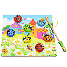 Child Kid Magnetic Fishing Game + 3D Jigsaw Puzzle Beetle Wooden Educational Toy