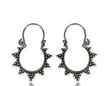 PAIR TRIBAL REAL STERLING SILVER EARRINGS SMALL HANGING AFGHAN HOOPS HIPPY