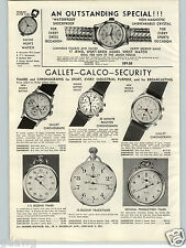 1957 PAPER AD Gallet Galco Chronograph Stainless Steel Case Aviator Gas Consumed