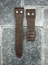 20mm Brown Leather Strap Watch Band with Rivet IWC PILOT Portuguese Button 20