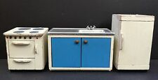 Lundby Kitchen White Stove Fridge Sink Wood Sweden Vtg Dollhouse Mini