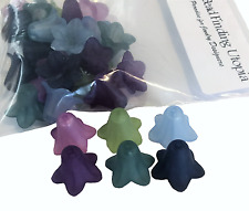 24 Frosted Blue, Lavendar, Slate Blue, Purple, Teal, Green (Pairs) Lucite Flower