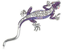 Lady Silver Tone Purple Crystal Rhinestone Crawl Gecko Animal Pin Brooch