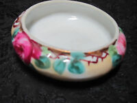 Small Porcelain Candy or Nut Dish Bowl Trinket Box Pink Rose Floral Motif Great
