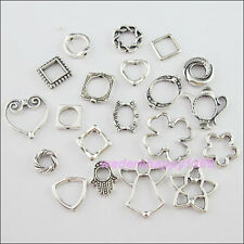 40Pcs Mixed Lots of Tibetan Silver Tone Bead Frame Charms Pendants